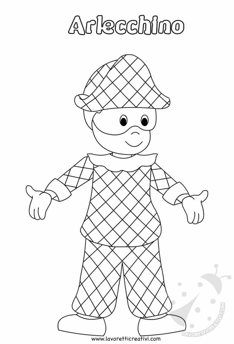 Maschera Di Arlecchino Per Bambini Da Stampare E Colorare