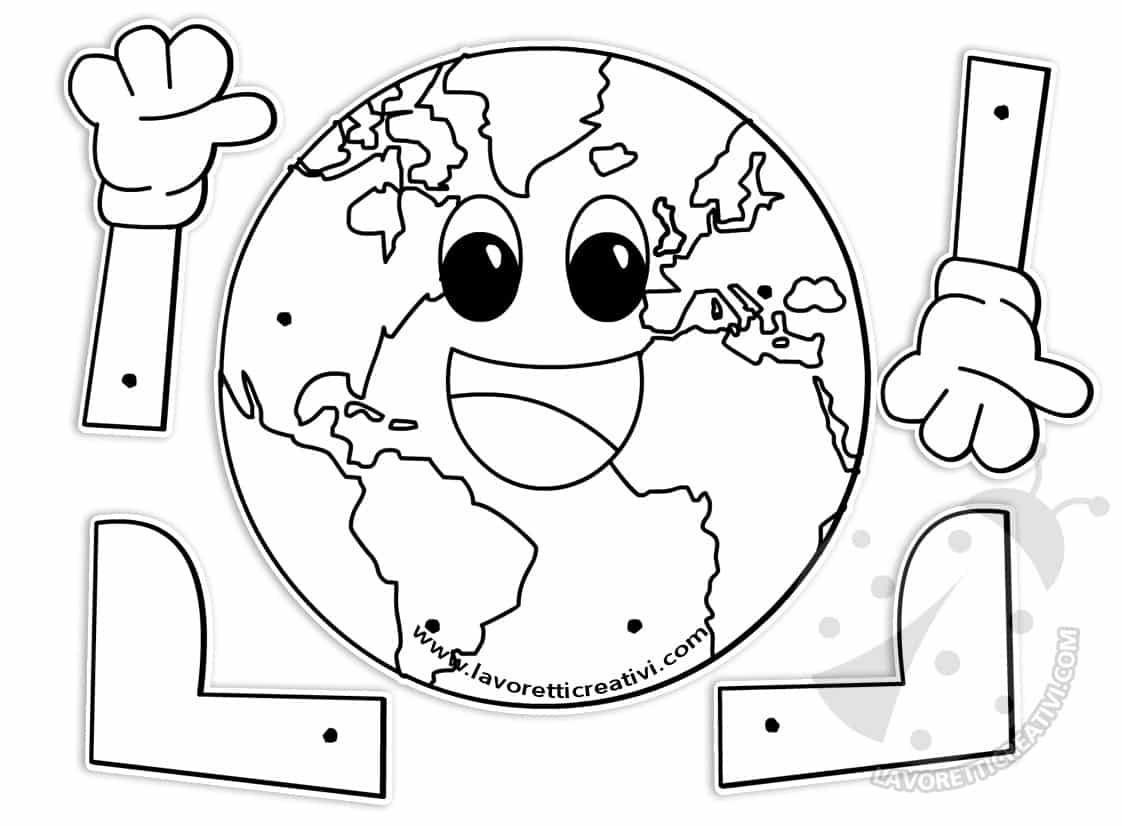 Terra con fermacampioni lavoretti giornata della terra - Immagine da colorare della terra ...