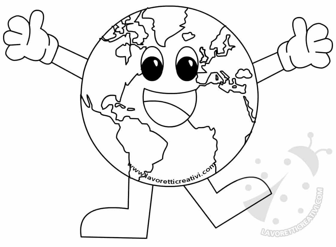 Terra con fermacampioni lavoretti giornata della terra for Disegno terra da colorare