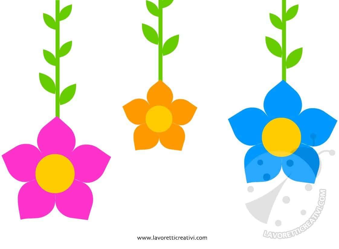 Decorazioni primaverili da appendere con fiori lavoretti - Decorazioni primavera ...