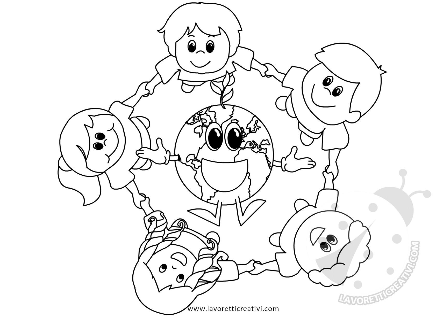 Giornata Della Terra Disegno Di Bambini Con Pianeta Terra Lavoretti Creativi