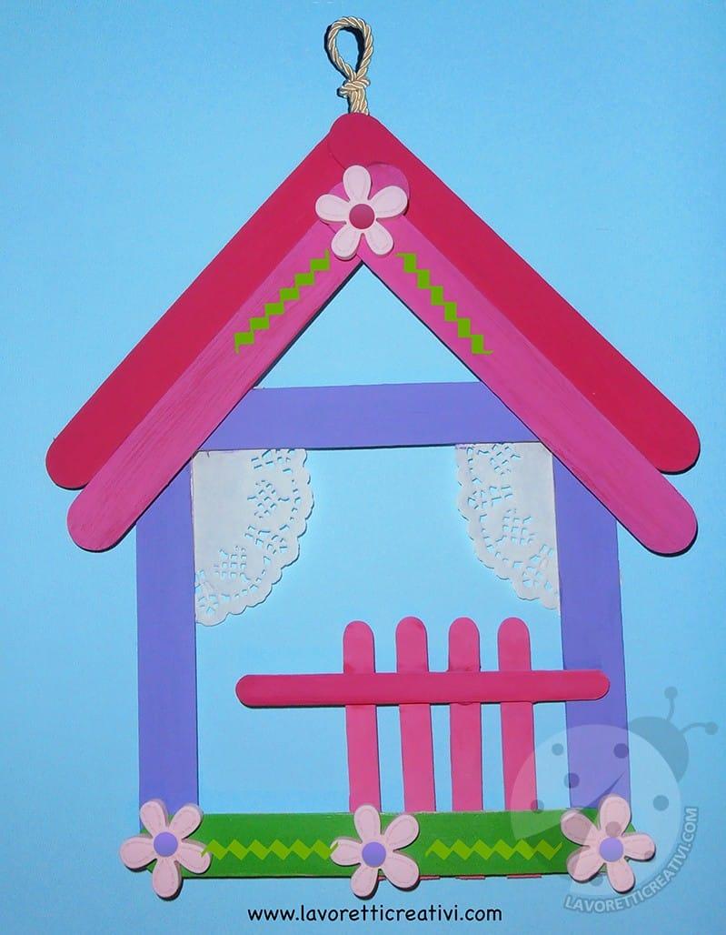 lavoretti per bambini casette con bastoncini di legno