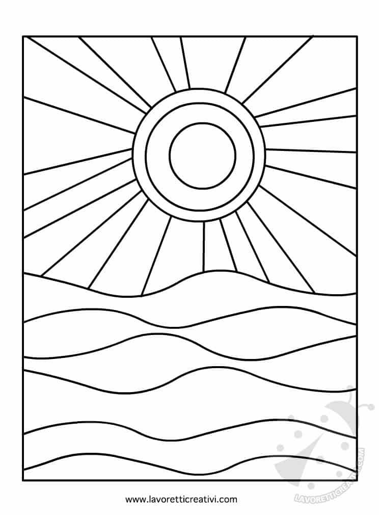 Sole e mare colori caldi e freddi lavoretti creativi for Sole disegno da colorare