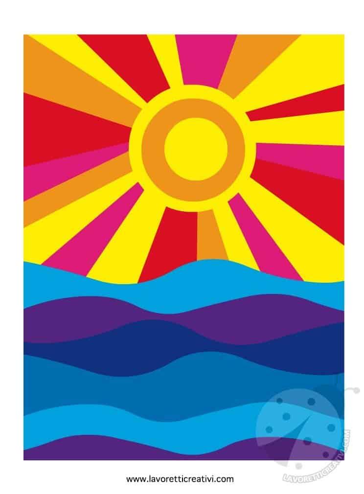 Sole e mare colori caldi e freddi lavoretti creativi for Immagini sole da colorare