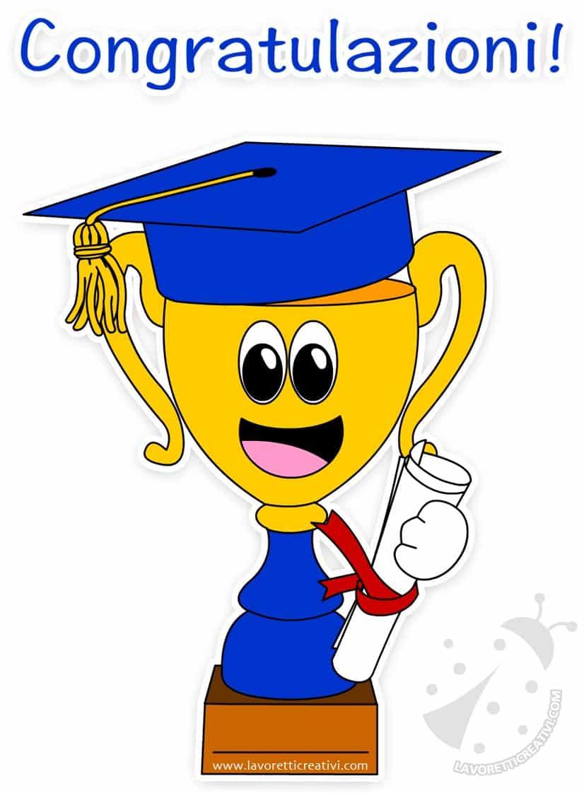 Coppa con tocco e diploma da regalare ai bambini alla Fine dell Anno  Scolastico. af55fc76f899