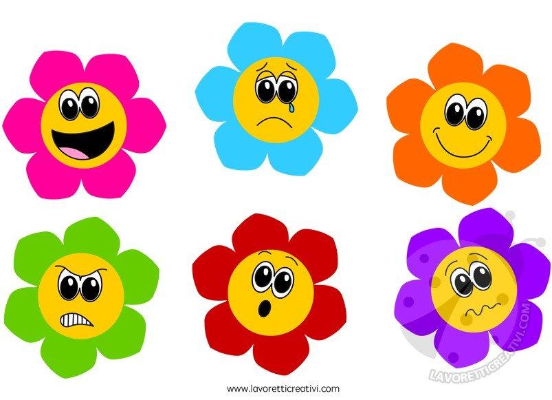 Fiori colorati con differenti emozioni lavoretti creativi for Fiori stilizzati colorati