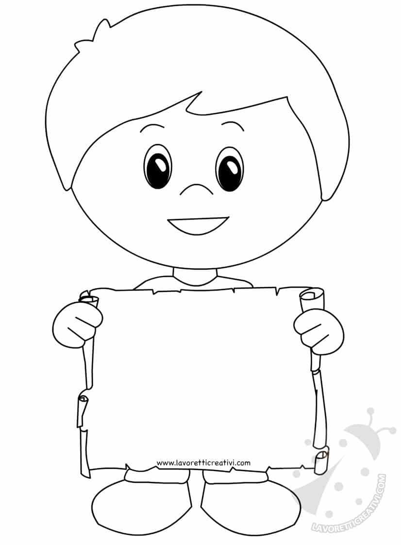 Bambino con scritta Grazie Maestra