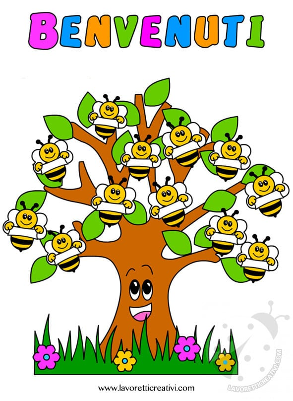 Cartellone accoglienza scuola infanzia con albero e api for Lavoretti creativi accoglienza