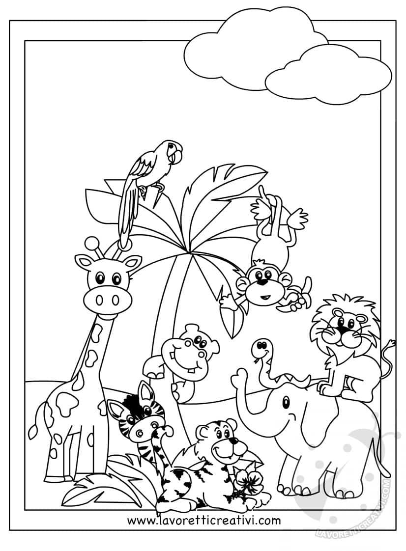 Disegni Da Colorare Di Animali Della Foresta.Cartellone Scuola Infanzia Gli Animali Della Giungla Lavoretti Creativi