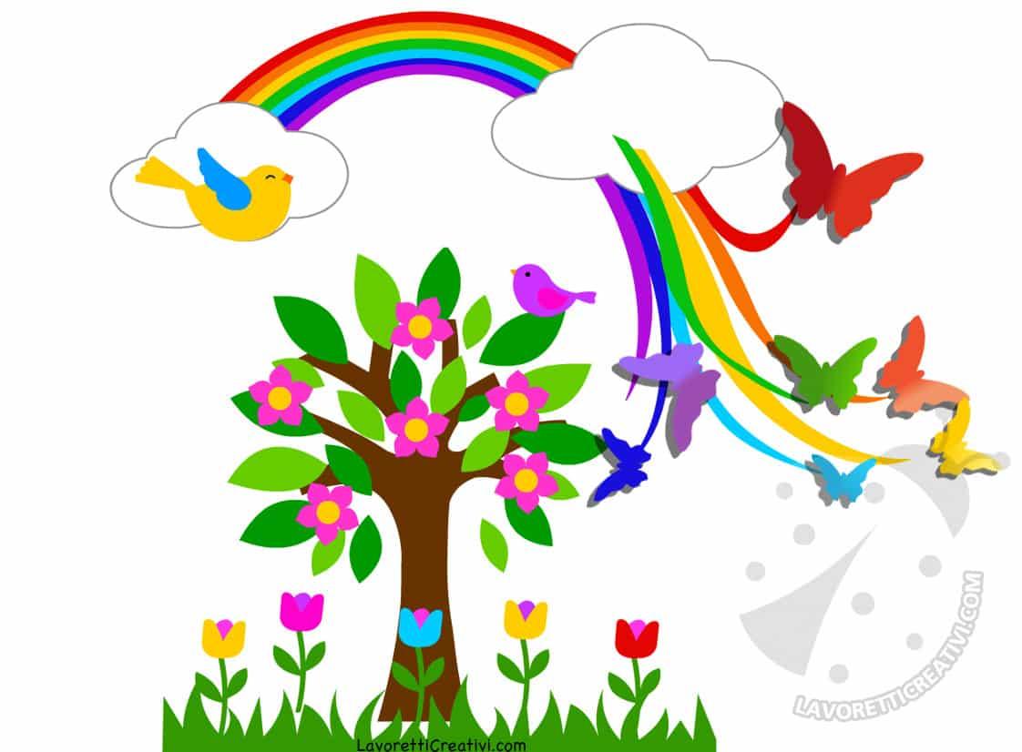 Idea cartellone con arcobaleno e farfalle 3d lavoretti - Arcobaleno a colori e stampa ...