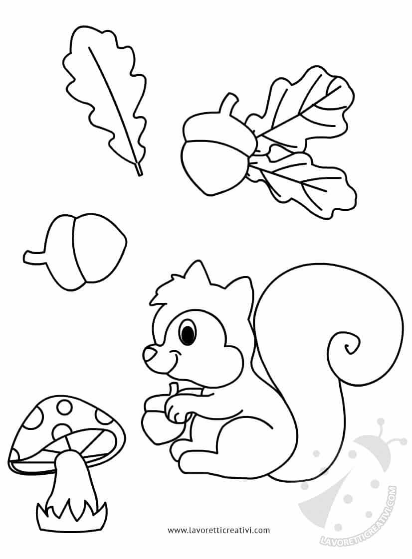 Ghirlanda con scoiattolo da ritagliare per addobbi aula