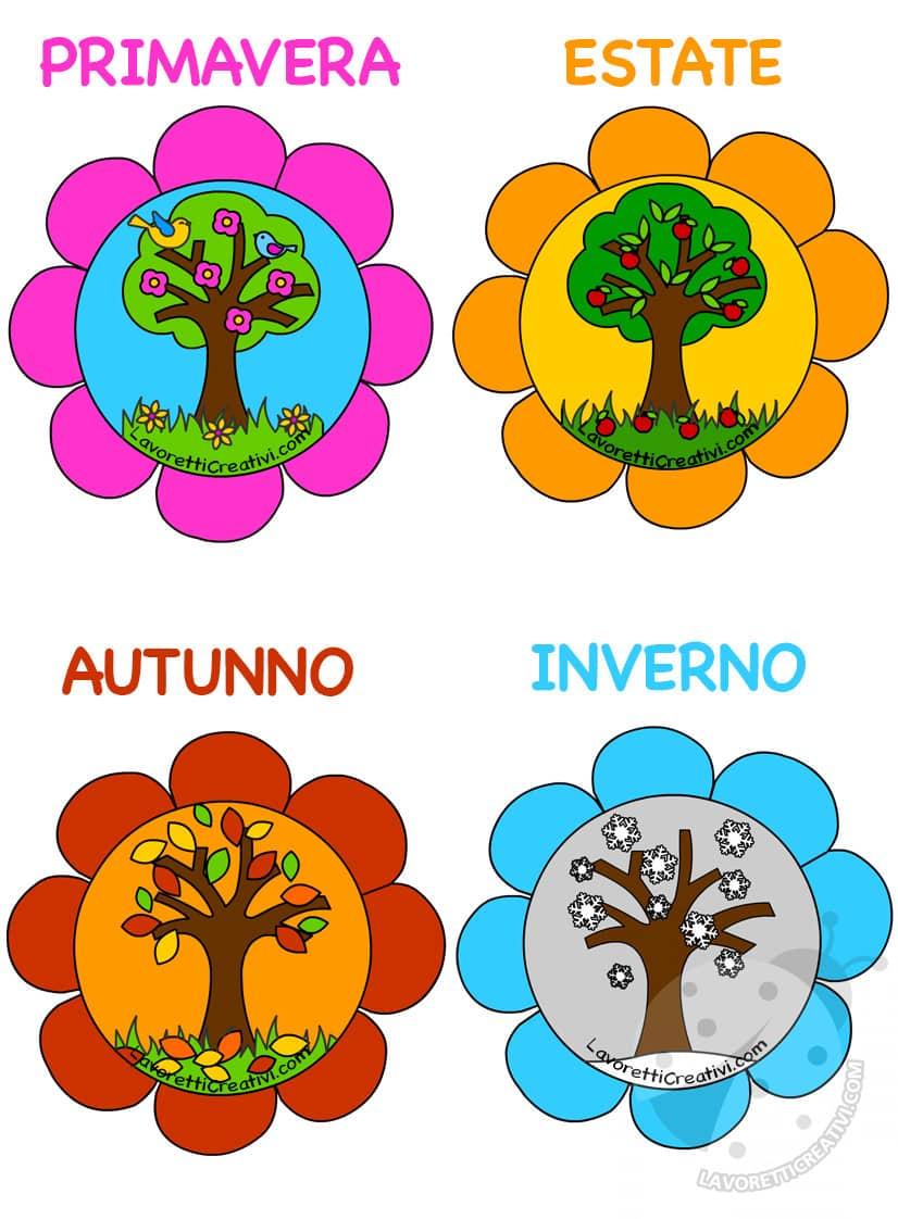 Idea cartellone con le 4 stagioni lavoretti creativi for Foto di alberi da colorare
