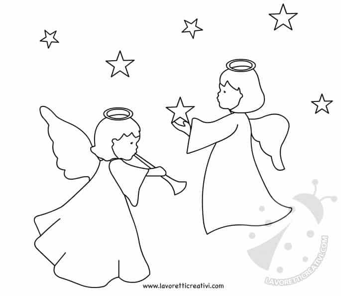 Angeli Di Natale Disegni.Addobbi Natalizi Per Finestre Scuola Primaria Angeli Con Stelle Lavoretti Creativi
