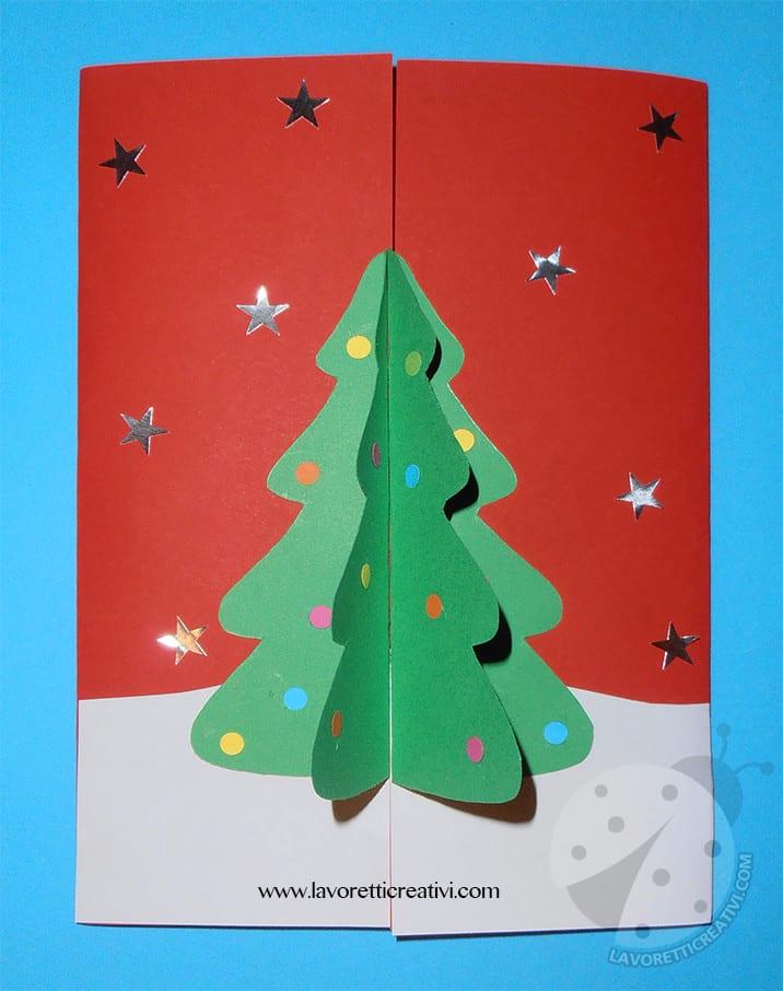 Lavoretti Biglietti Di Natale.Biglietto Natalizio Fatto A Mano Con Albero Di Natale In 3d