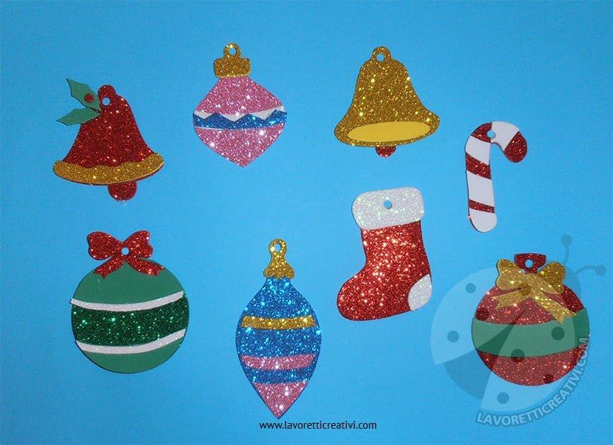 Decorazioni di Natale con gomma crepla glitter