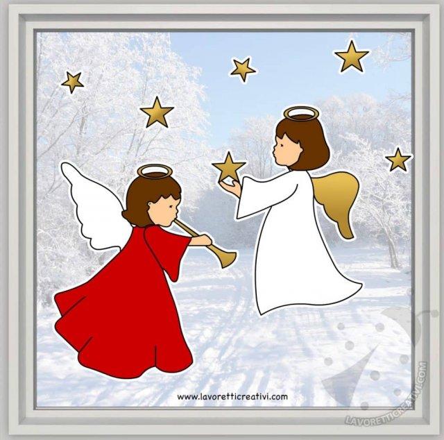 Disegni Di Natale X Finestre.Addobbi Natalizi Per Finestre Scuola Primaria Angeli Con Stelle
