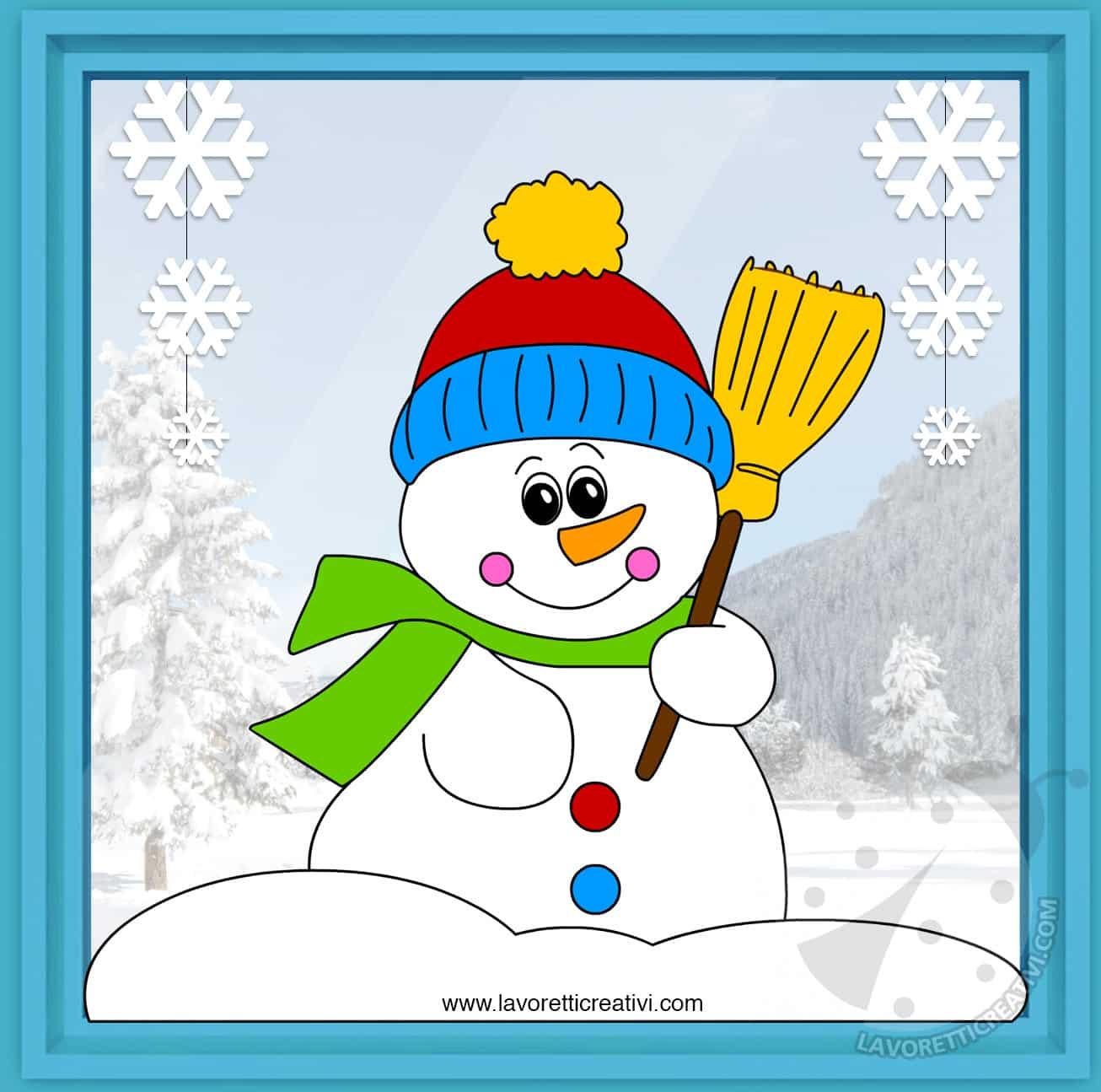 Decorare Finestre Per Natale Scuola decorazioni invernali per scuola pupazzo di neve con scopa