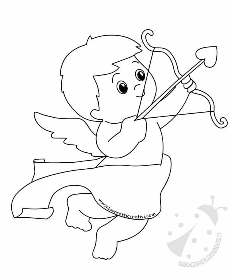 San Valentino Disegno Di Cupido Con Arco E Freccia Da Colorare