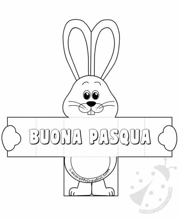 Biglietto Auguri Di Pasqua Con Coniglio Pieghevole Lavoretti Creativi