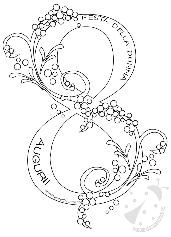 Disegni Da Colorare Festa Della Donna.Disegno Per La Festa Delle Donne Numero Otto Con Mimose Lavoretti Creativi