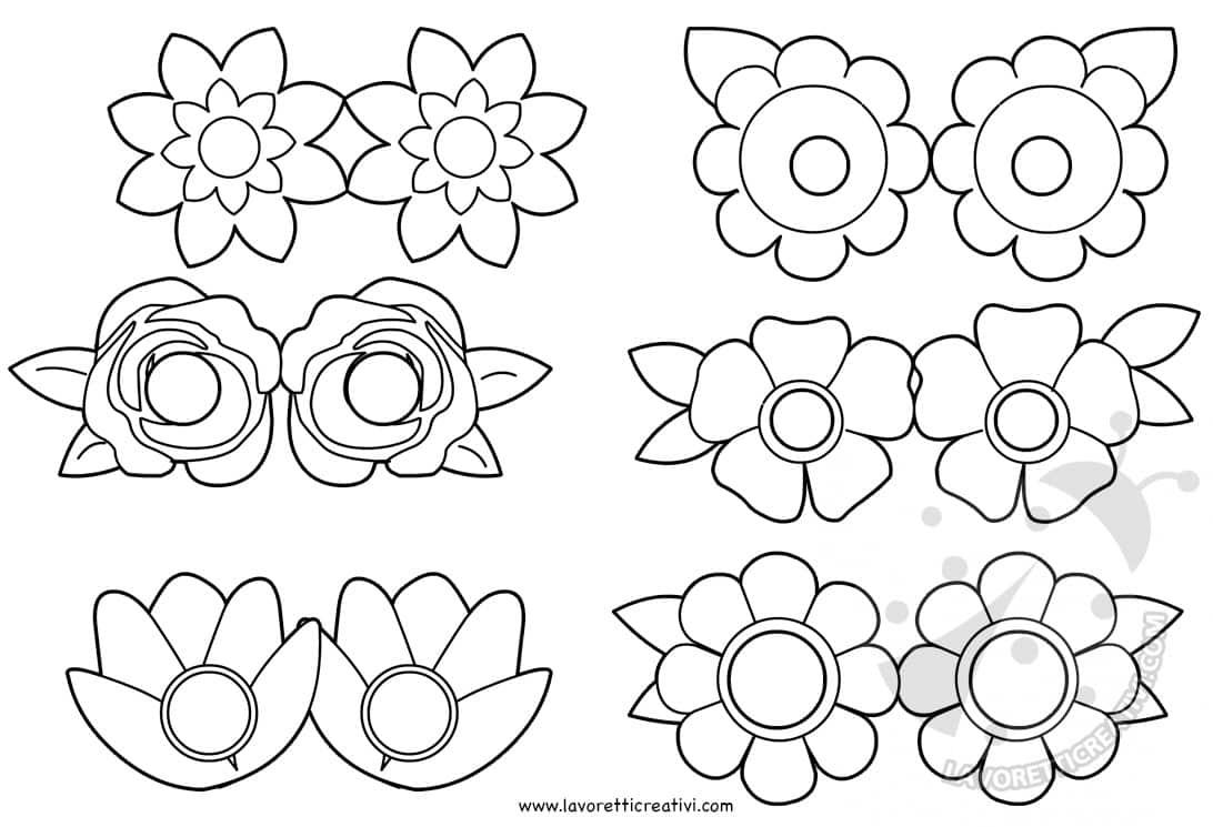 Maschere per bambini con fiori da colorare lavoretti for Fiori da colorare e stampare