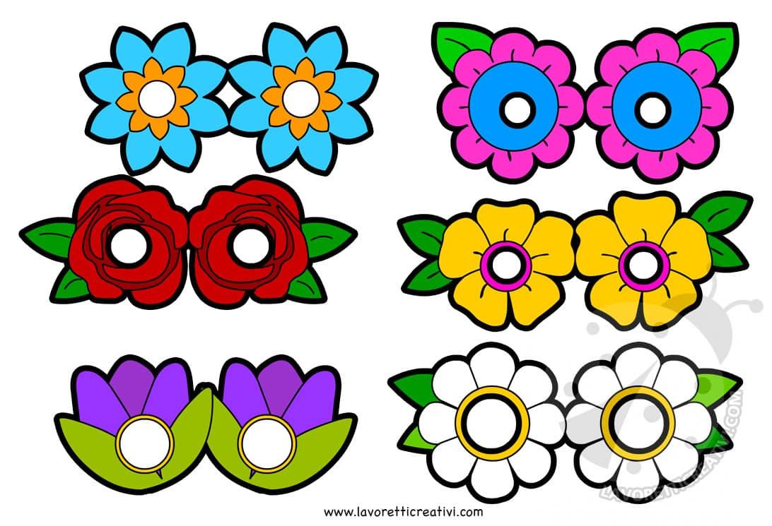 Maschere con fiori da stampare e ritagliare lavoretti for Disegni da stampare colorare e ritagliare