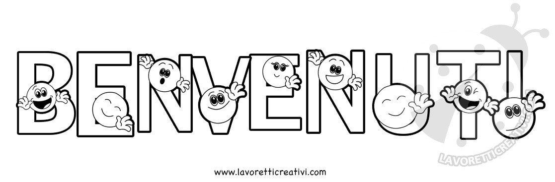 Striscione Benvenuti Con Emoticon Da Colorare Lavoretti Creativi