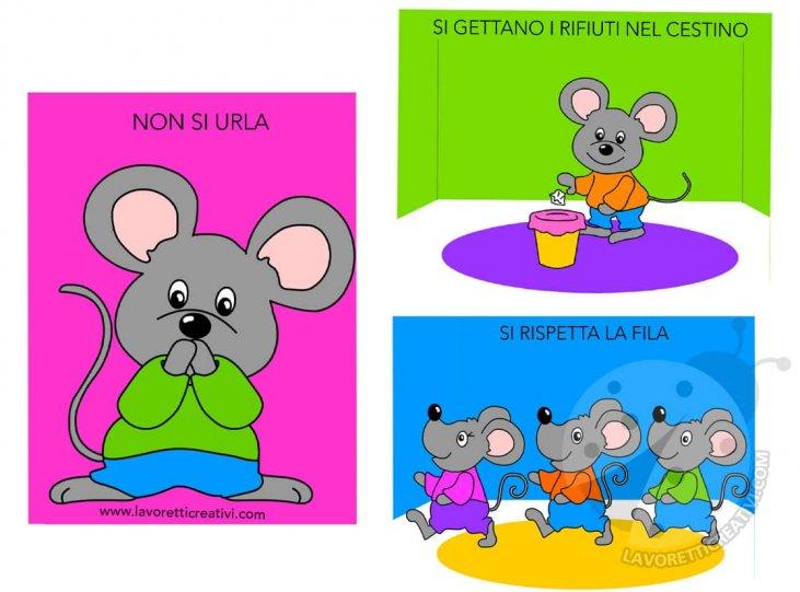 Regole Per Bambini Scuola Dellinfanzia Con Topolini Lavoretti