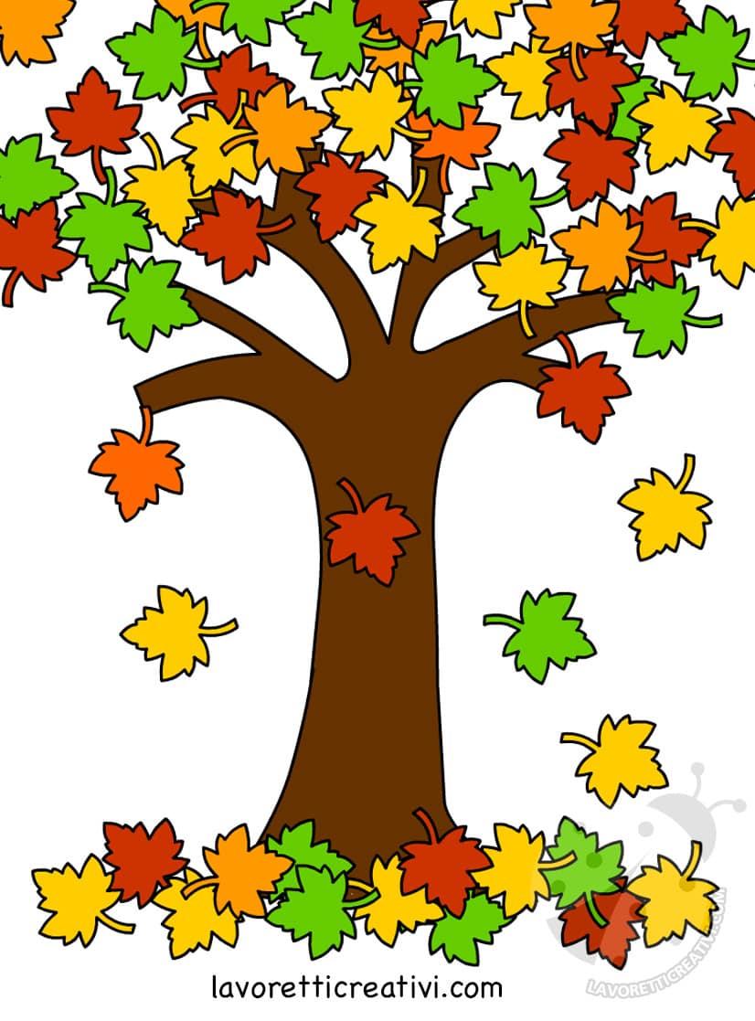 Albero in autunno con foglie che cadono lavoretti creativi for Foto di alberi da colorare