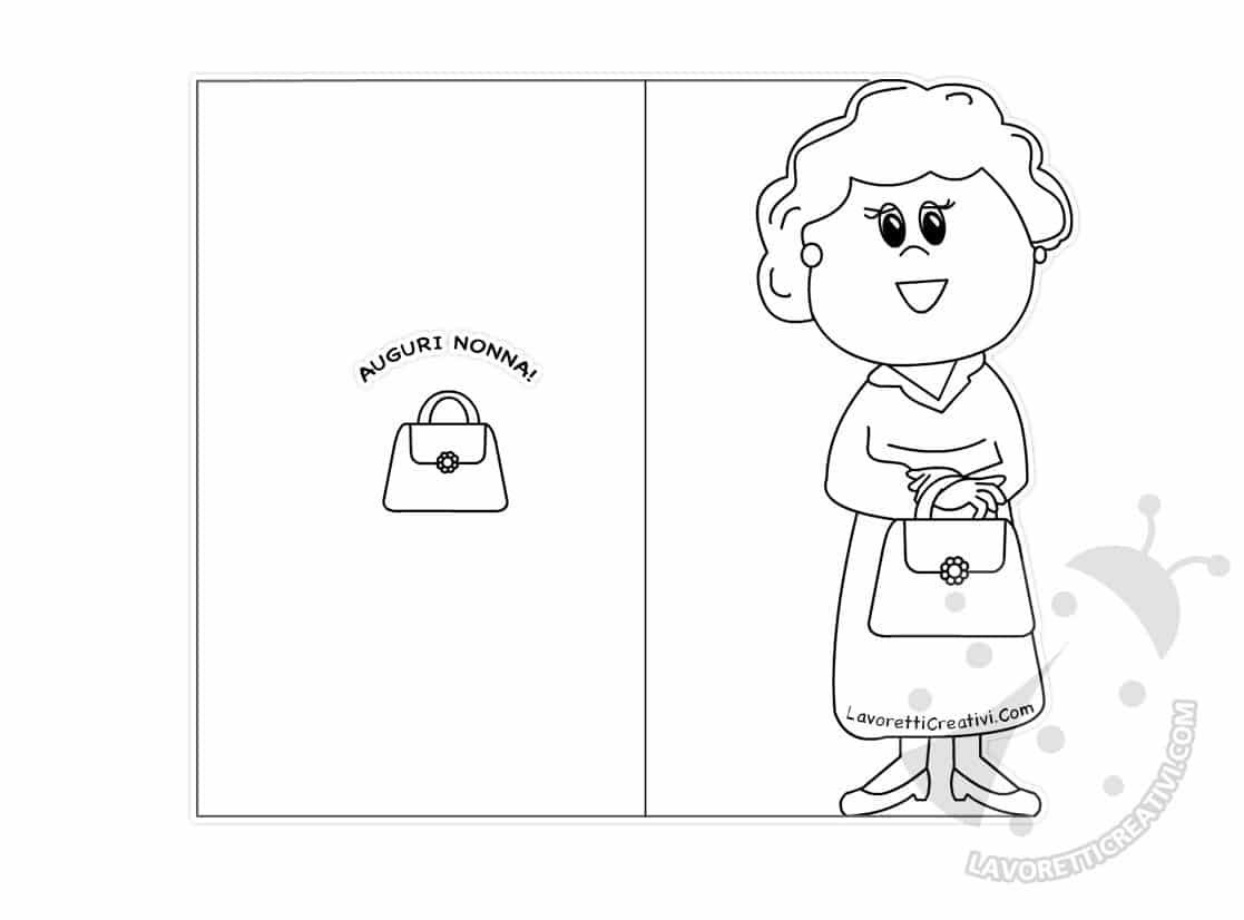 Disegni Da Colorare Per Compleanno Nonna.Biglietti Festa Dei Nonni Da Stampare Nonna Con Borsetta