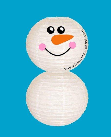 costruire pupazzo di neve con lanterne