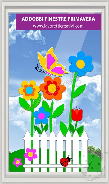 decorazioni primavera per finestre scuola primaria