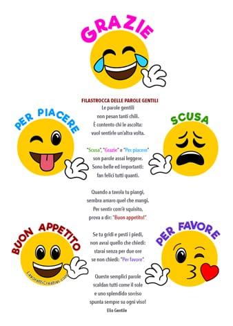 Filastrocca delle Parole Gentili con emoji