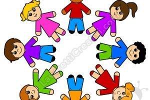 bambini formano cerchio scuola infanzia