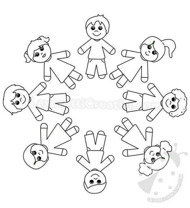 Disegni Da Colorare Di Bambini Che Si Tengono Per Mano.Disegno Girotondo Dei Bambini Lavoretti Creativi