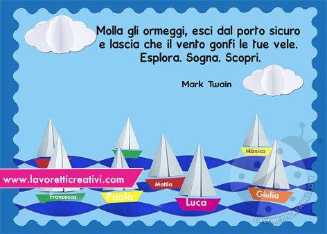 Cartellone con barche e frase di Mark Twain