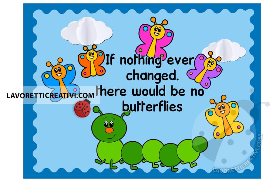 Cartellone bruco con farfalle