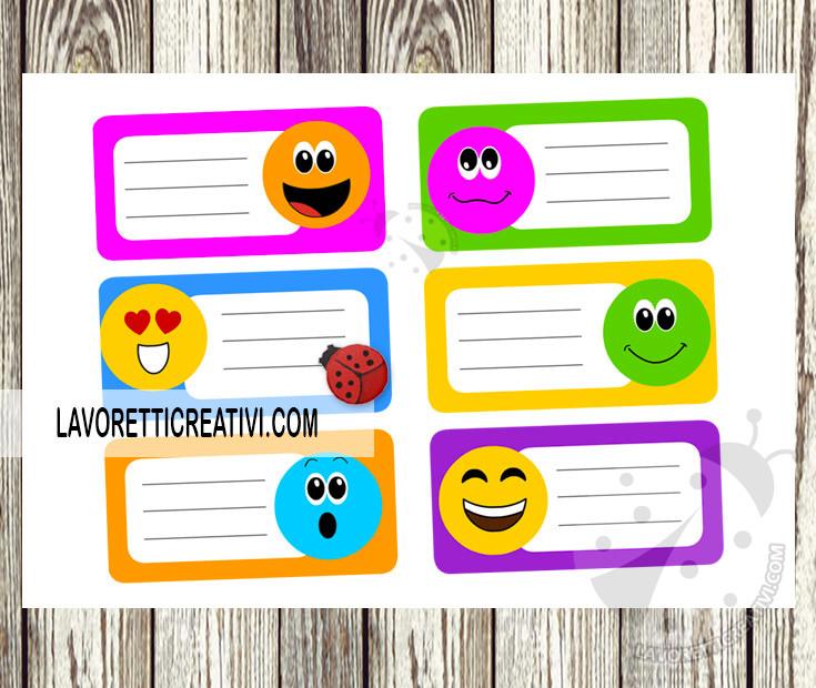 Etichette per la scuola con emoticon