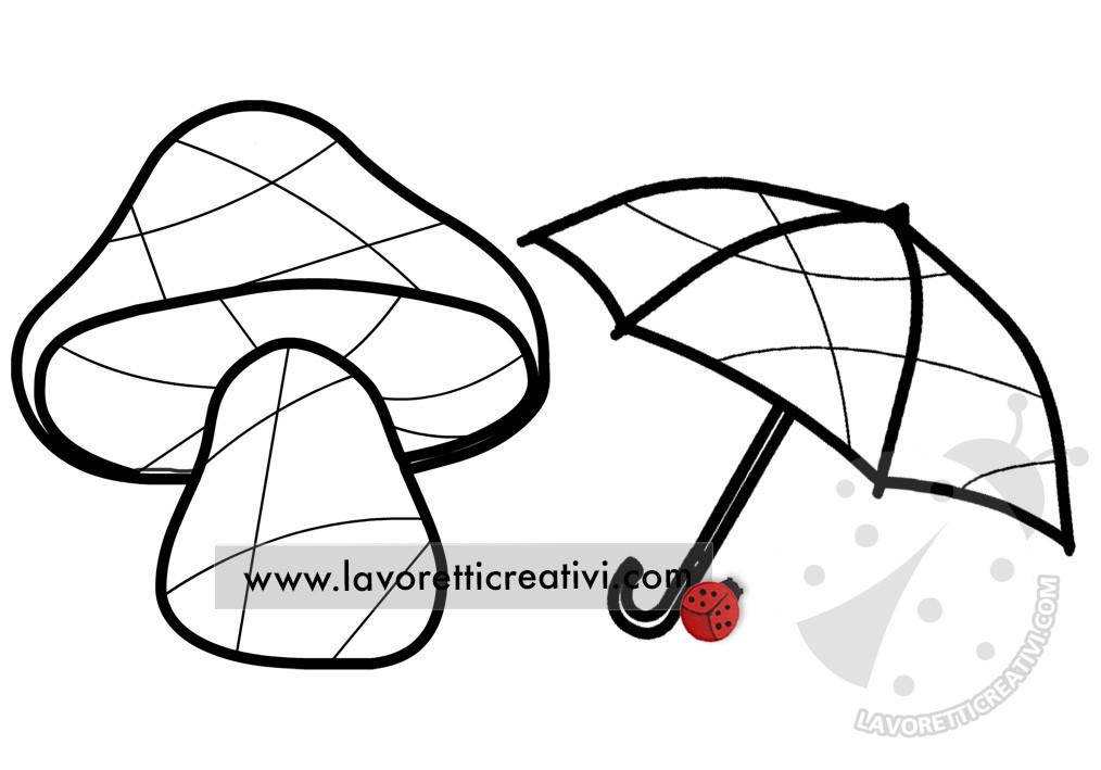 fungo e ombrello con linee astratte