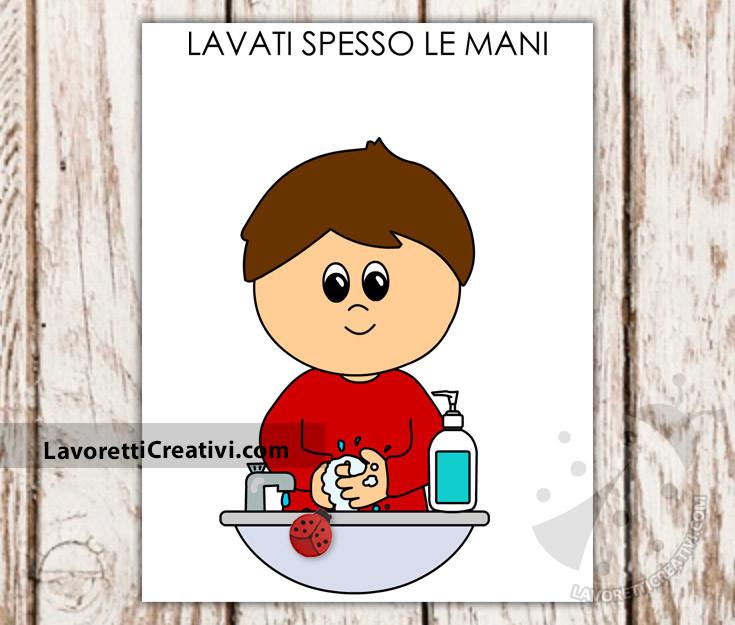 Cartello lavati spesso le mani scuola infanzia