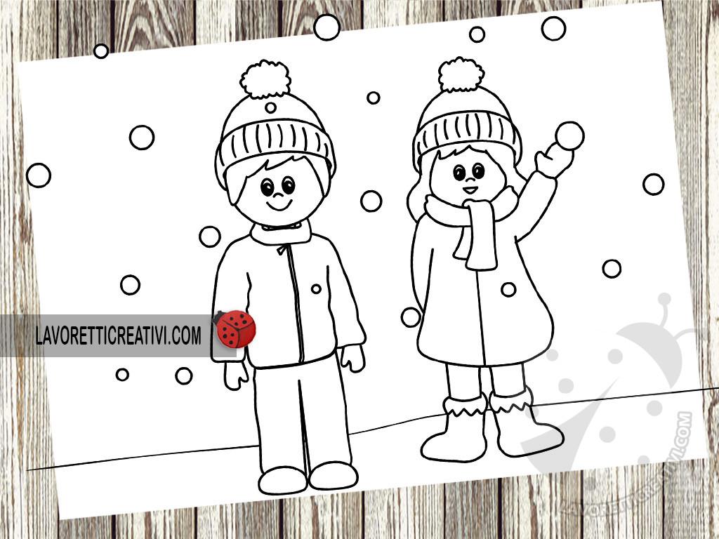 Bambini con vestiti invernali da colorare