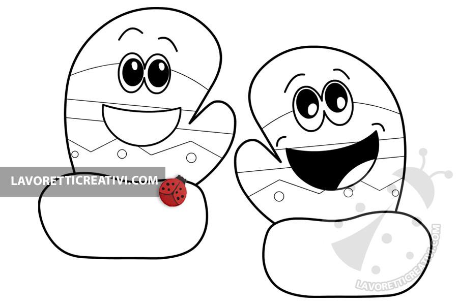 guanti invernali in stile cartoon