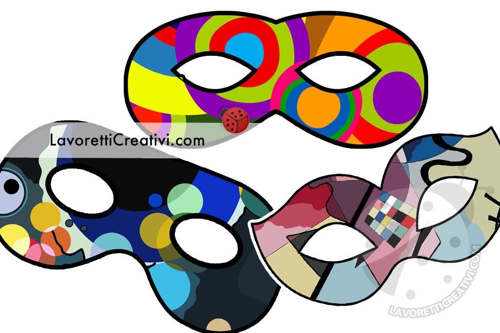 Maschere di Carnevale in stile Kandinsky da stampare