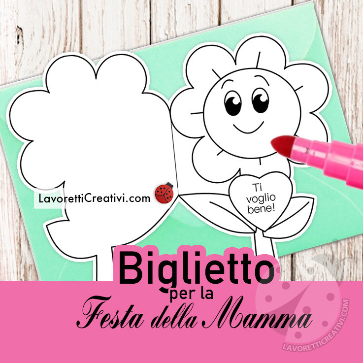 Biglietto con fiore per la Festa della Mamma