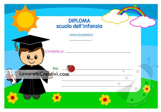 Diploma per bambino della scuola dell'infanzia