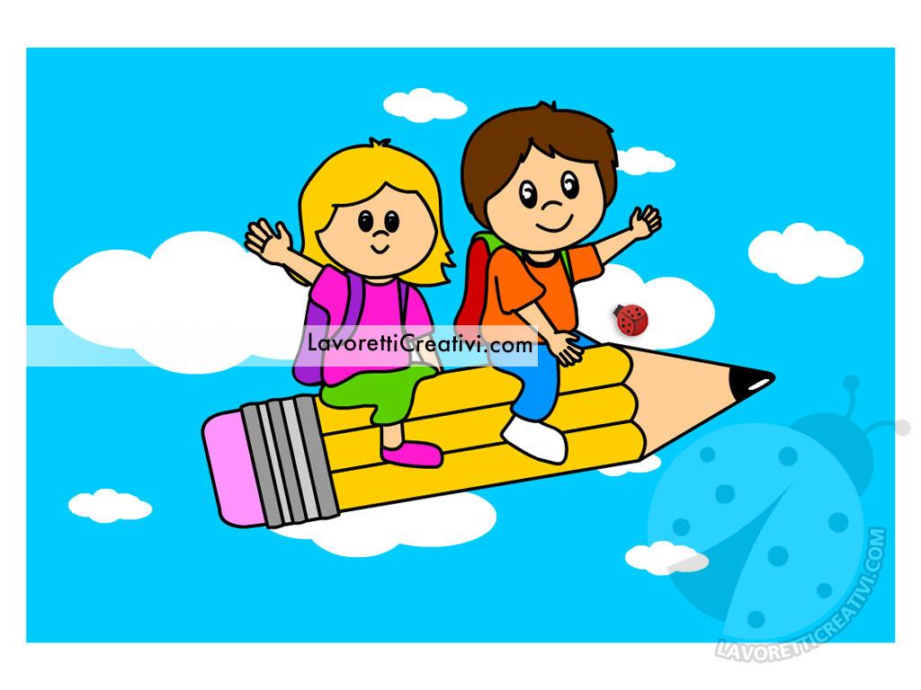 Bambini su una matita